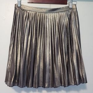 TORY BURCH AUDRA METALLIC PLEATED SKIRT 2 SILVER
